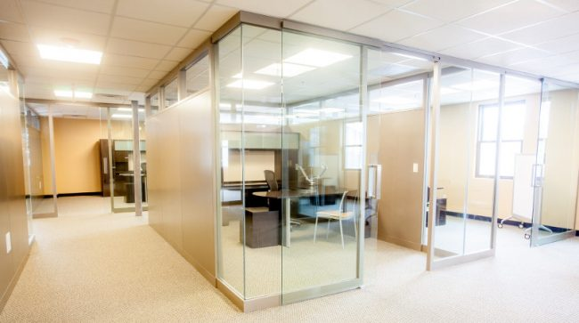 KI Lightline demountable architectural wall to create conference rooms