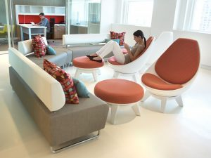 KI Sway Lounge Chair and Ottoman and Hub Lounge Furniture in Lobby Setting