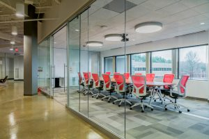 KI Lightline Modular Demountable Walls Conference Room with Sit On It Torsa Chairs