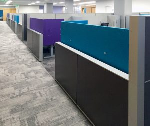 KI Unite Panel System with Toggle Tables and Adjustable Screens In Office Space