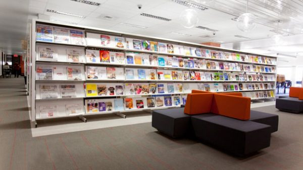 Library shelves by montel with Teknion DNA lounge furniture
