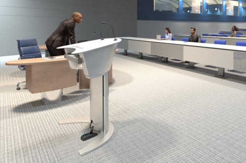 Connectrac under carpet lectern, power, technology