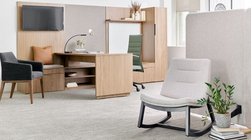 OFS private office, lounge chair, corporate, desk