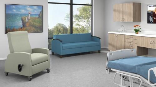 lazboy leda recliner, sleeper sofa, healthcare, patient, lounge
