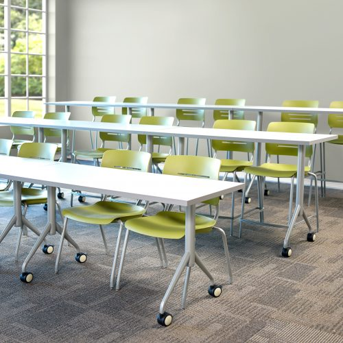 Classroom with tiered tables to create stadium seating