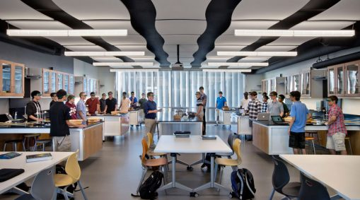 Modern classroom without traditional desks and collaborative learning