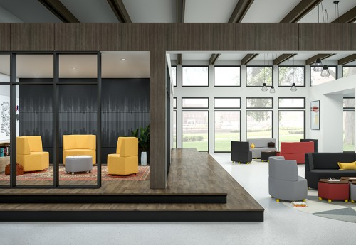EKO Panal soft seating, lounge furniture, lobby, corporate, business, collaborate, open office, higher education, upholstered, chair