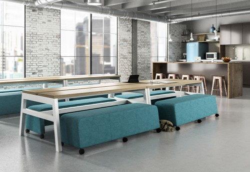 EKO Picnic table, bench, upholstered, collaborate, casual meeting, corporate, business, conference, open office, business