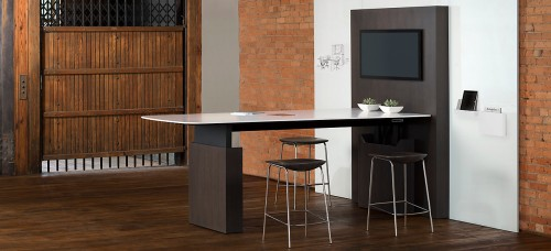 Gunlocke Briefing Collaborative table, media, collaborate, open office, casual meeting, conference, corporate, business