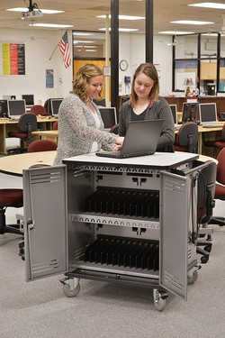 Spectrum Industries Pro 32 notebook cart, laptop storage, mobile, k12