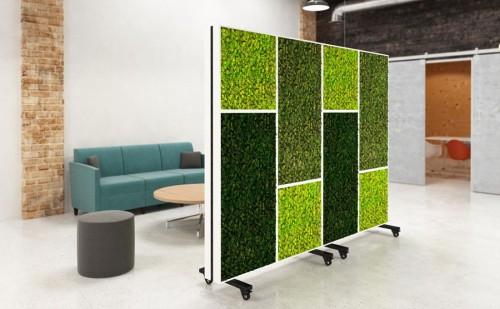 Nevins bio canvas mobile room divider, partition, panel, plant, living, eco